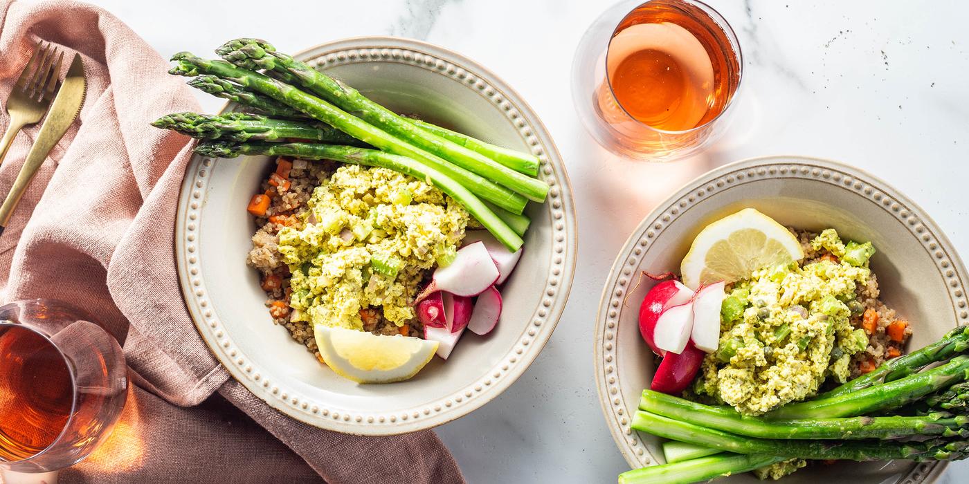 Eggless Salad Bowls with Lemon Butter Asparagus & Quinoa Pilaf