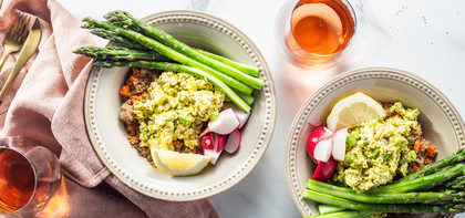 Eggless Salad Bowls with Lemon Butter Asparagus & Quinoa Pilaf
