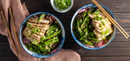 Miso Mustard Soba Noodles with Tofu & Shaved Vegetables