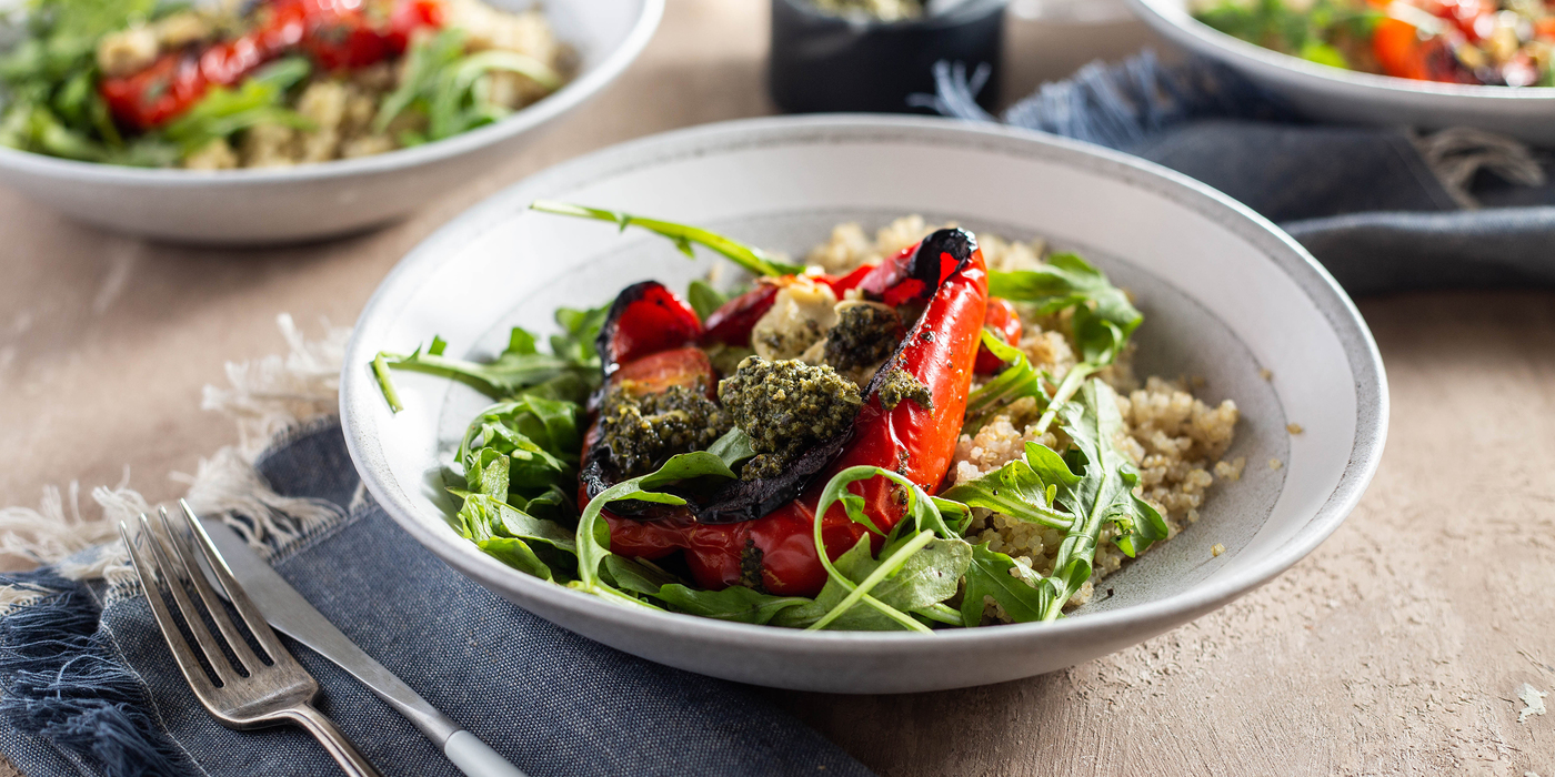 Pesto Stuffed Peppers with Cherry Tomatoes & Scallion Cashew Cheese