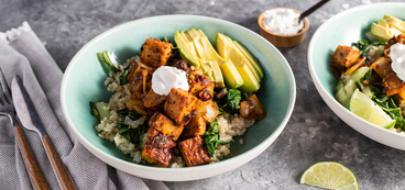 Spicy Barbacoa Tempeh with Lime Swiss Chard & Avocado