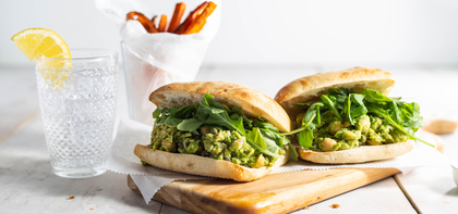 Green Goddess Chickpea Sandwiches with Garlic Roasted Carrot Fries