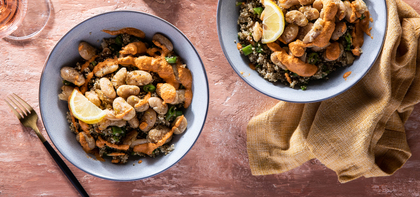 Crispy Butter Bean Bowl with Snap Pea Quinoa Pilaf & Romesco Sauce