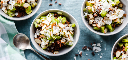 Chocolate Quinoa Bowls with Kiwi & Sliced Almonds