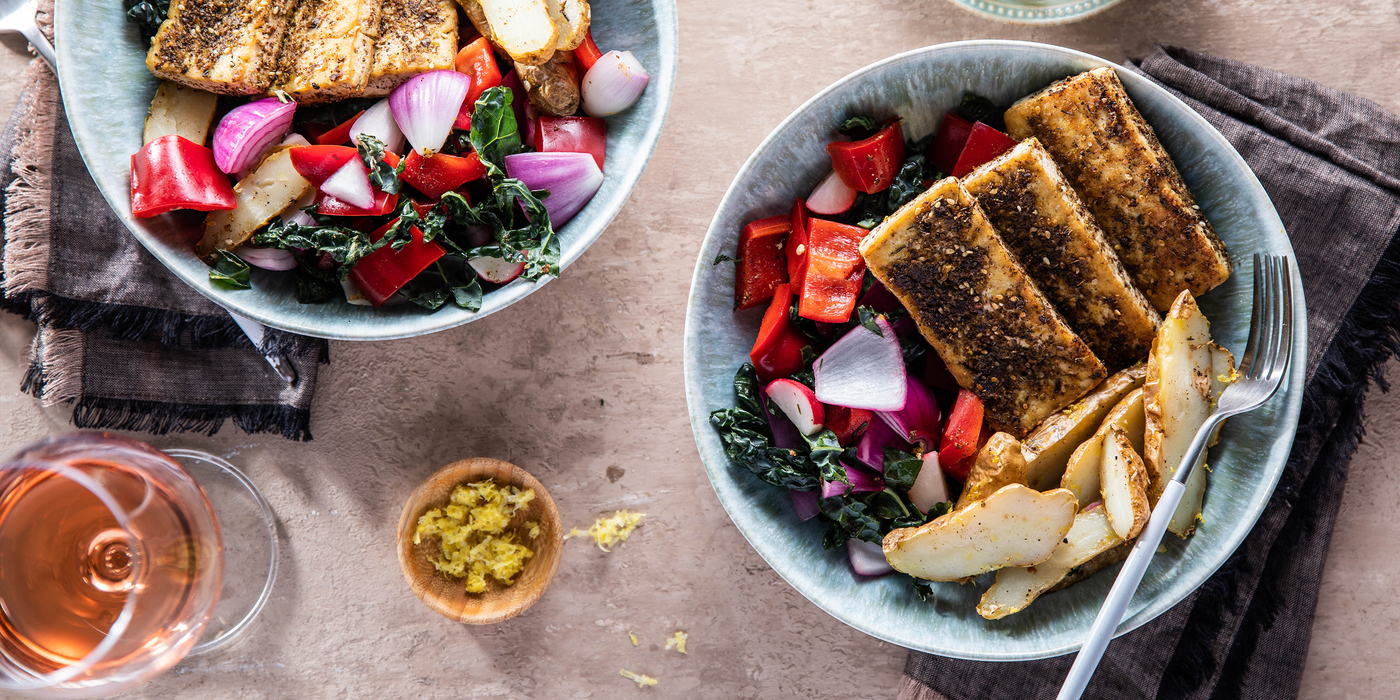 Tofu Halloumi Bowls with Lemon Potatoes & Kale Salad