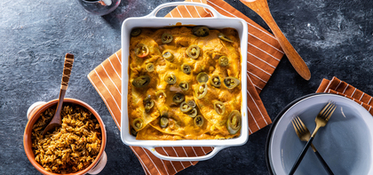 Red Bean Enchilada Bake with Spanish Rice & Cashew Queso