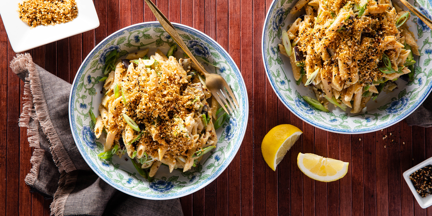 Lemon Miso Pasta with Eggplant & Nori Breadcrumbs