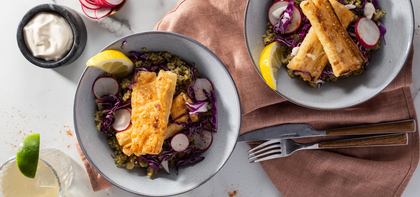 Baja Fish Bowls with Citrus Aioli & Cilantro Almond Quinoa