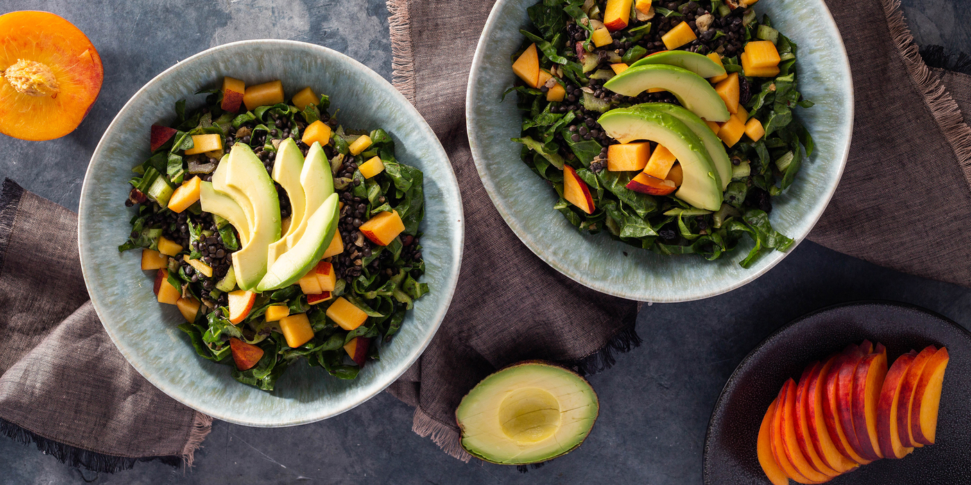 Warm Stone Fruit Salad with Coriander Lentils & Avocado