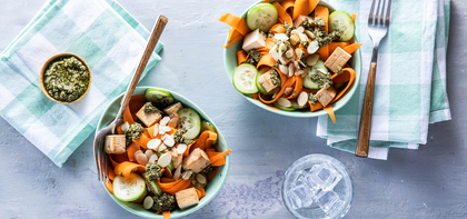 Pesto Carrot Noodle Bowls with Baked Tofu