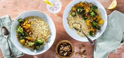 White Lentil Walnut Risotto with Roasted Broccoli & Peppers