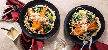 Roasted Sweet Potatoes with Spicy Cashew Sauce & Kraut
