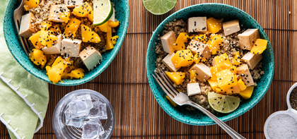 Lime Quinoa Salads with Mango & Baked Tofu
