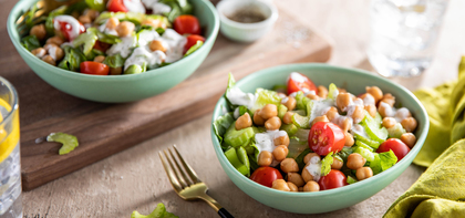 Buffalo Chickpea Salads with Celery & Ranch Dressing