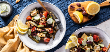 Rustica Grain Bowls with Za'atar Roasted Cherry Tomatoes & Yogurt Cucumbers