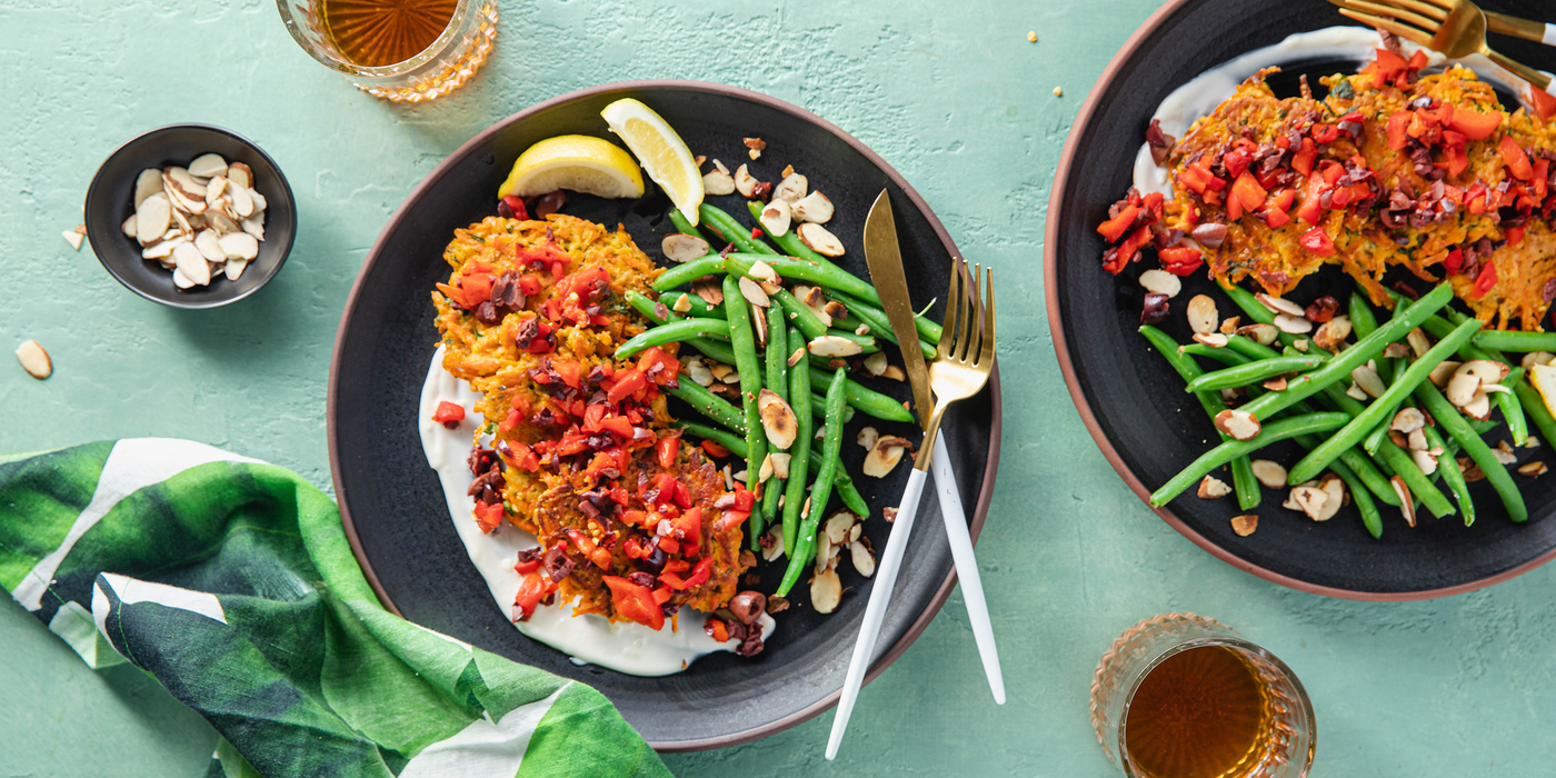Carrot Socca Cakes with Green Beans Almondine & Olive Relish
