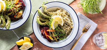 Pesto Rice Bowls with Root Vegetables & Seeded Avocado