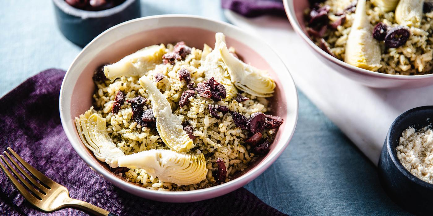 Brown Rice Pesto Bowls with Artichoke Hearts & Parmesan Cheese