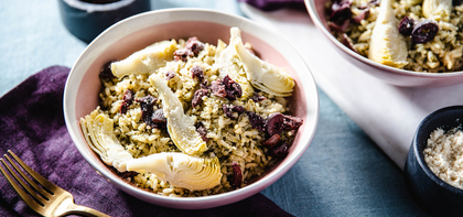 Brown Rice Pesto Bowls with Artichoke Hearts & Parmesan Cheese