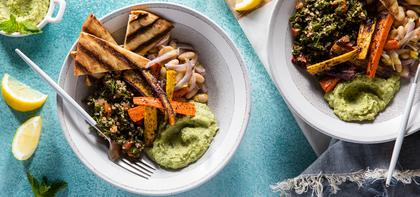 Tabouli Mezze Bowls with Sweet Pea Hummus & Sumac Carrots