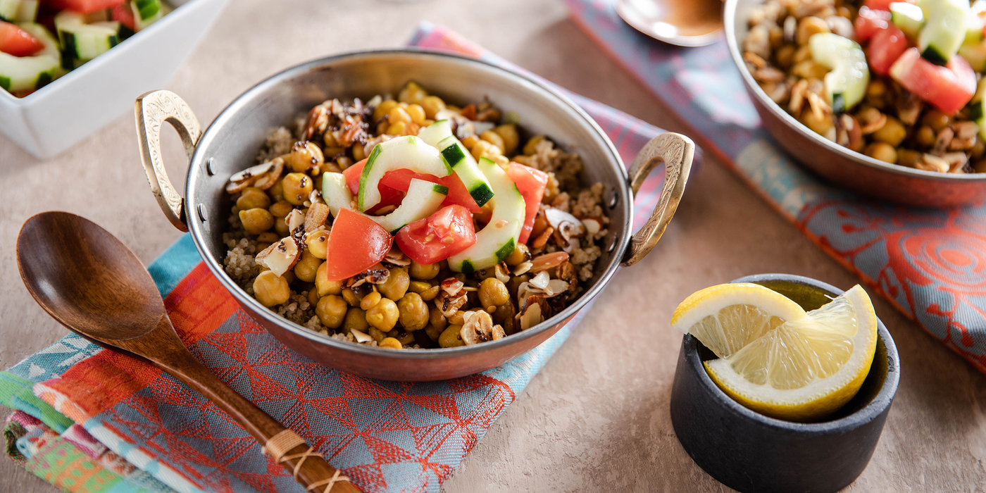 New Delhi Chana Dal with Quinoa & Tomato Cucumber Salad
