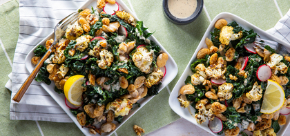 Cauliflower Kale Caesar with Crispy Butter Beans & Walnuts