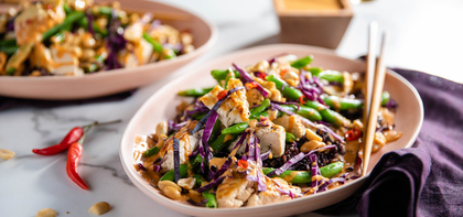 Tofu Peanut Stir-Fry with Charred Green Beans & Midnight Grains
