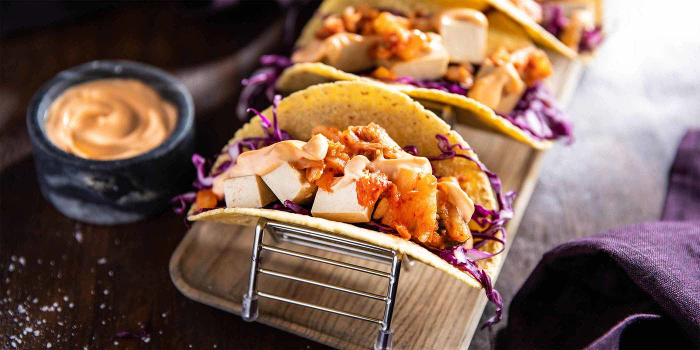 Banh Mi Wraps with Kimchi & Teriyaki Tofu