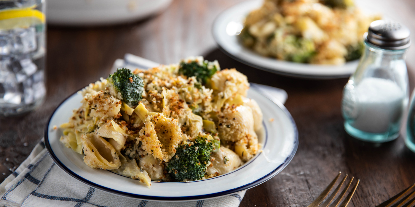 Broccoli Mac n' Cheese with Artichoke Hearts & Oregano Breadcrumbs