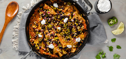 Skillet Chilaquiles with Charred Corn & Black Bean Salsa