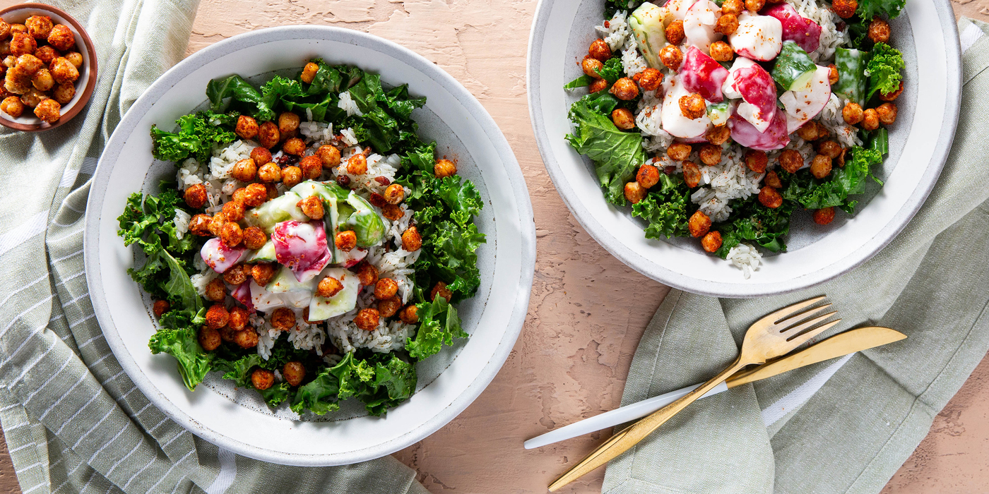 Kashmiri Chickpea Bowls with Yogurt Smashed Vegetables & Pomegranate Pilaf