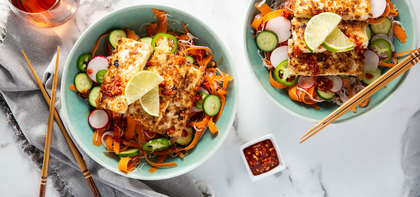 Coconut Tofu Bun Cha with Carrot Noodles & Sweet Chile Sauce