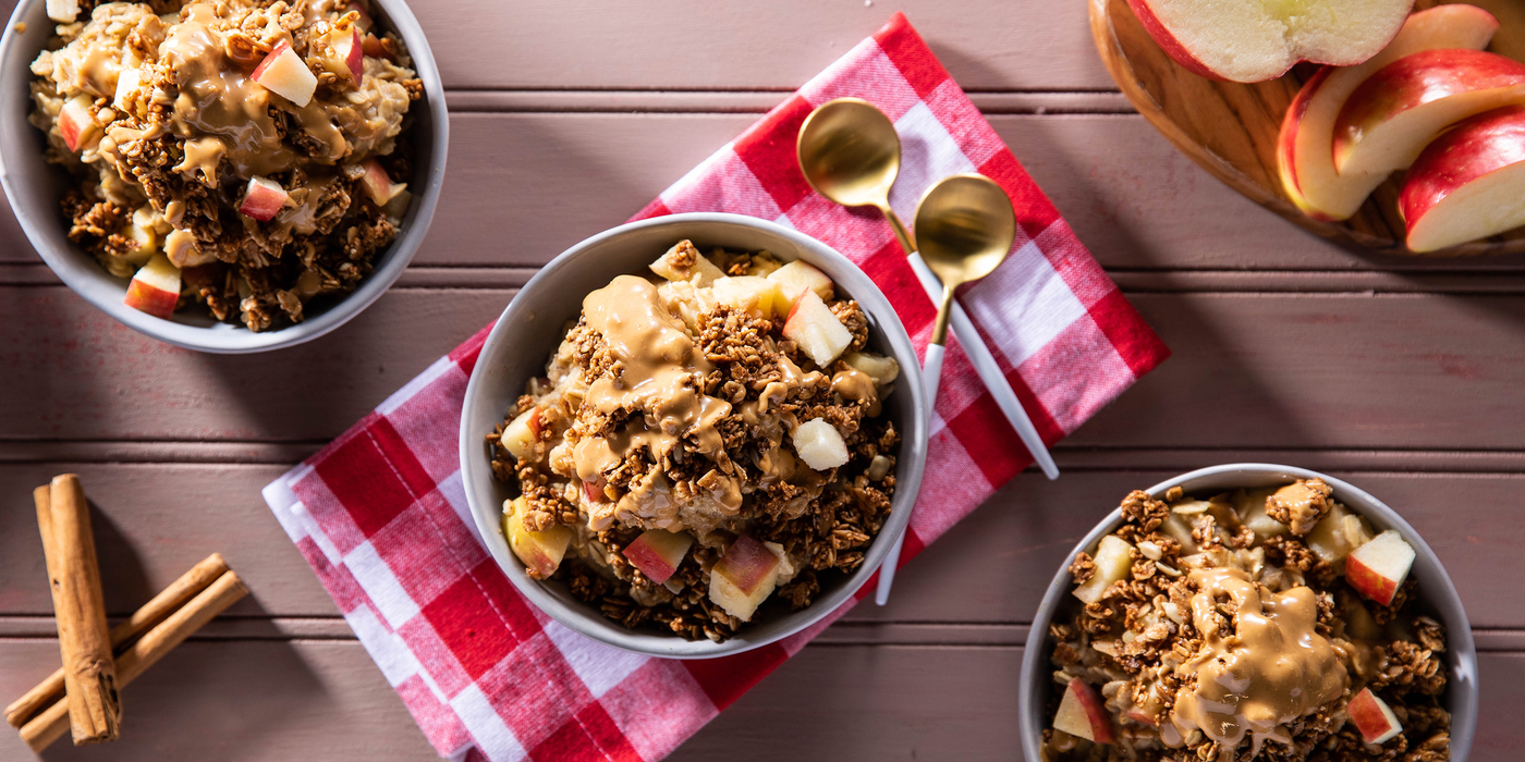 Apple Pie Overnight Oats with Cashew Butter & Cinnamon