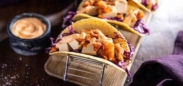 Banh Mi Tacos with Kimchi & Sriracha Mayo