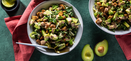 Kale & Brussels Sprout Salads with Avocado & Chipotle Ranch Dressing