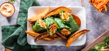 Banh Mi Collard Wraps with Apricot Glazed Tempeh & Yam Fries