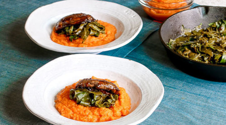 BBQ Portobello Mushrooms over Mashed Sweet Potatoes