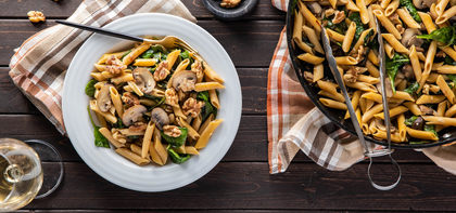 Penne Mushroom Florentine with Chickpea Pasta & Toasted Walnuts