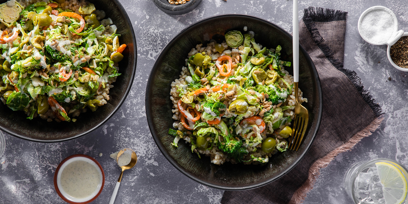 Sprouting Broccoli Salad with Sunflower Seeds & Miso Power Dressing