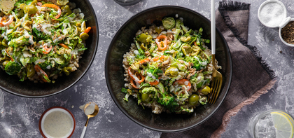 Sprouting Broccoli Salads with Sunflower Seeds & Miso Power Dressing