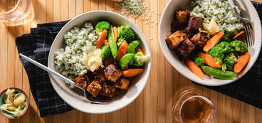 Almond Butter Tofu with Bamboo Rice & Steamed Fresh Vegetables