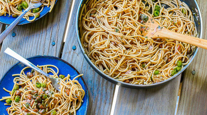 Spaghetti with Fava Beans and Lemon