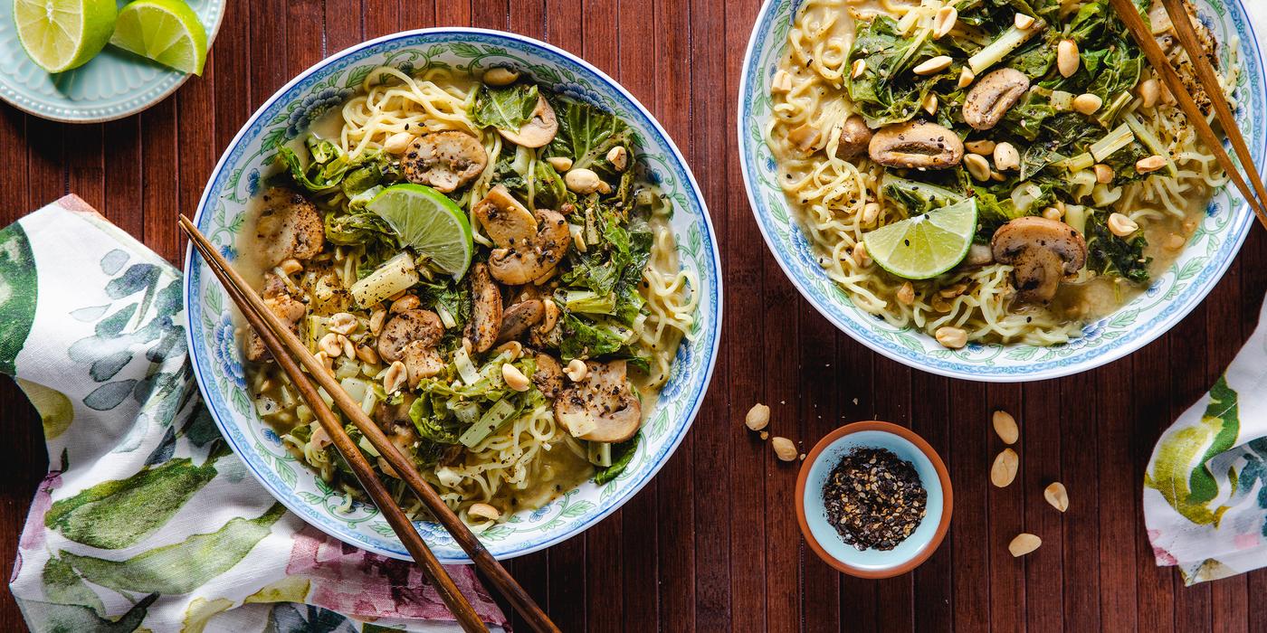 Green Curry Ramen with Peanuts & Swiss Chard