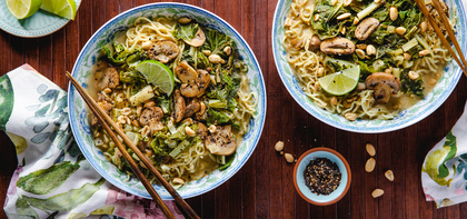 Green Curry Ramen with Peanuts & Swiss Chard