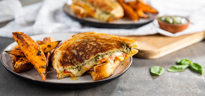 Pesto Grilled Cheese with Tomato & Sweet Potato Fries