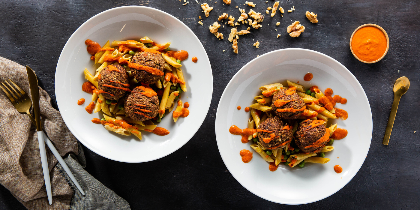 Miso Walnut Meatballs with Penne & Roasted Red Pepper Sauce