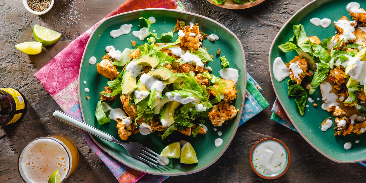 Tofu Sofritas Tostadas with Lime Crema & Avocado
