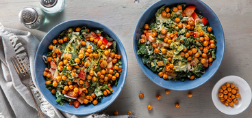 Kale Caesar with Crispy Chickpeas & Nutritional Yeast