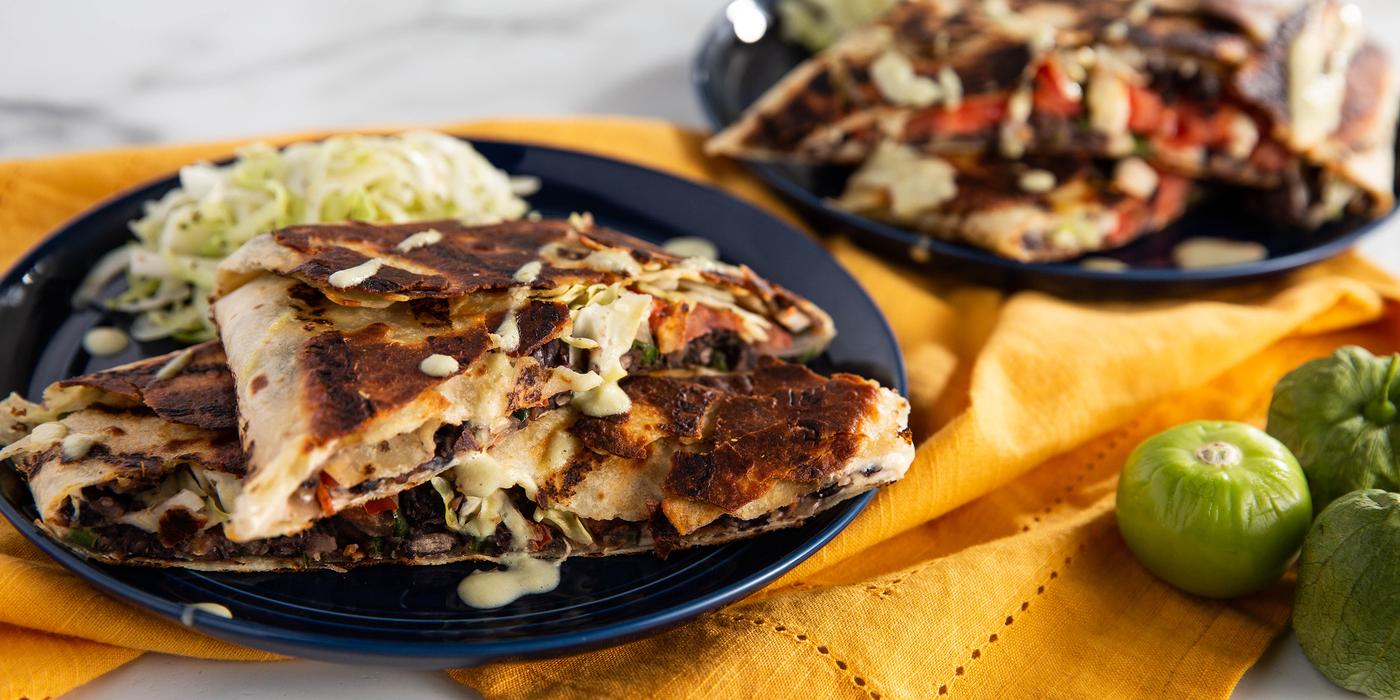 Black Bean Crunch Wraps with Tomatillo Sour Cream & Curtido