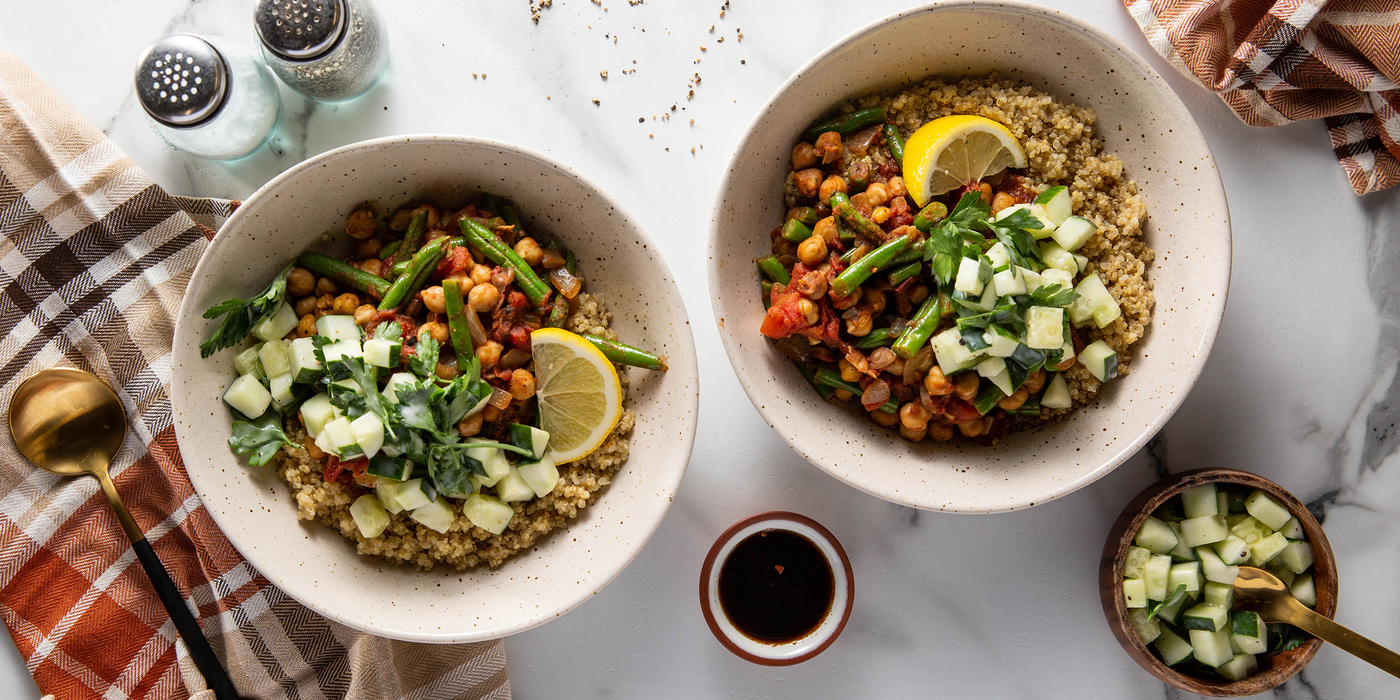 Moroccan Chickpea Tagine with Green Beans & Tamarind Chutney